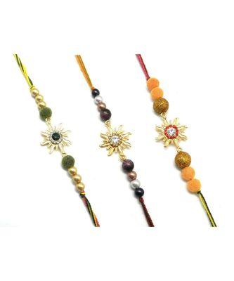 multicolor Jewellery Designer Fancy Stylish Beautiful Combo (Set Of 3) Rakhi For Brother