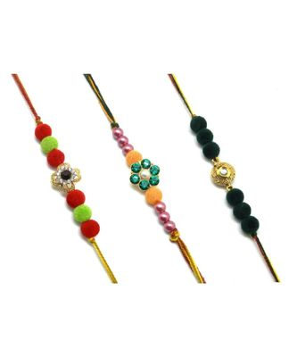 Multicolor Jewellery Designer Fancy Stylish Beautiful Combo (Set Of 3) Rakhi For Brother