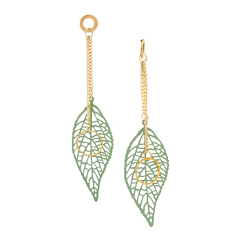 Green Color Stylish Leaf Shape Party Wear Earrings/Jhumki For Girls And Women