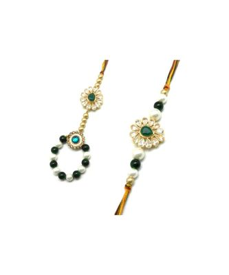 Multicolor Jewellery Designer Fancy Stylish Beautiful Rakhi  Combo Rakhi Set For Bhaiya And Bhabhi