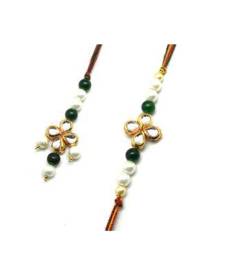 Multicolor Jewellery Designer Fancy Stylish Beautiful Rakhi  Combo Rakhi Set For Bhaiya And Bhabhi