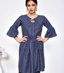 Navy-blue printed polyester short-kurtis