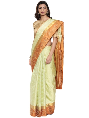 CLASSICATE from the house of The Chennai Silks Women's Green Kanjivaram Silk Saree With Running Blouse