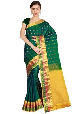 CLASSICATE from the house of The Chennai Silks Women's Dark Green  Kanjivaram Silk Saree With Running Blouse