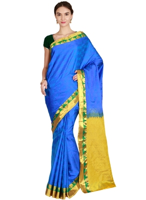 CLASSICATE from the house of The Chennai Silks Women's Royal Blue Kanjivaram Silk Saree With Running Blouse