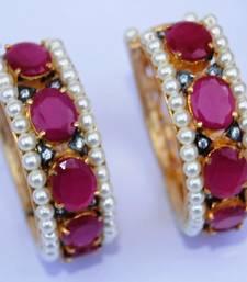 Ruby Studded Gold Hoop Earrings