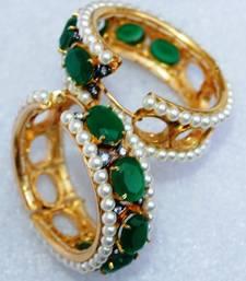 Emerald Studded Gold Hoop Earrings