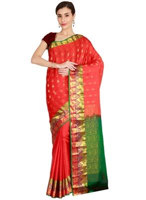 CLASSICATE from the house of The Chennai Silks Women's Red Kanjivaram Silk Saree With Running Blouse