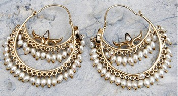 Uncut Diamond Studded Pearl Hoop Earrings