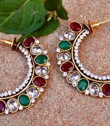 Red Green Big Hoop Glam Earrings