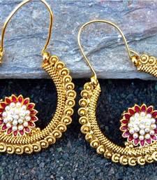 Antique Pearl Red Flower Chand Hoop Earrings