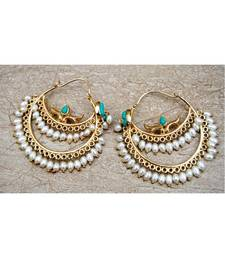 Turquoise Studded Pearl Hoop Earrings