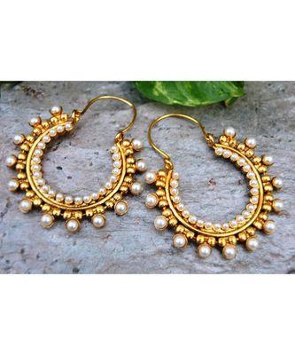 Beaded Hoop Earrings with Pearls