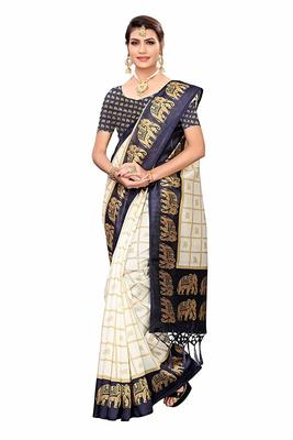 Navy Blue and White Printed Mysore Art Silk Saree With Blouse