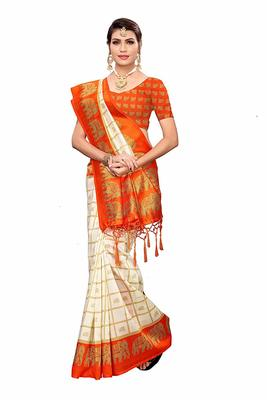 Orange and White Printed Mysore Art Silk Saree With Blouse