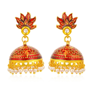 Red pearl jhumkas