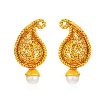 Yellow pearl danglers-drops
