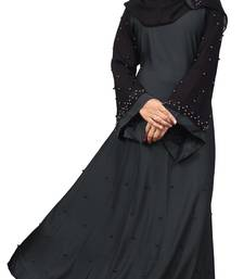 Justkartit Women's Grey Color Beads Work Abaya Burkha With Hijab Dupatta