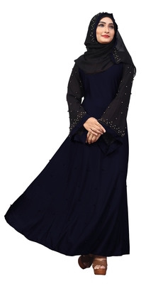 Justkartit Metallic Blue Color Beads Work Abaya Burkha With Dupatta