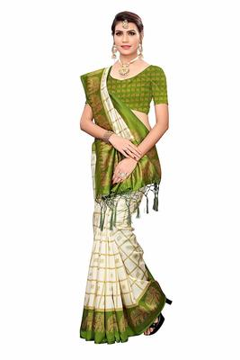 Mehandi Green and White Printed Mysore Art Silk Saree With Blouse