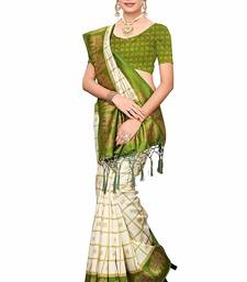 Mehandi Green and White Printed Mysore Art Silk Saree With Blouse