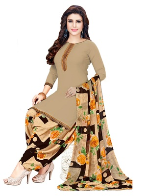 Brown Printed Crepe Salwar