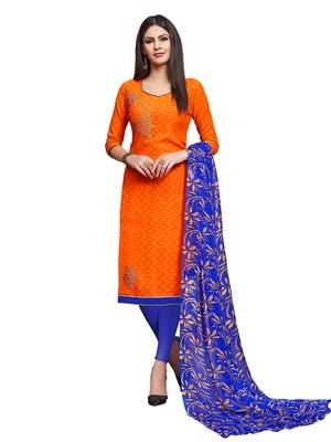 Orange embroidered cotton salwar
