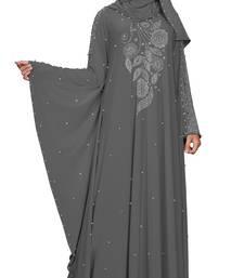 Justkartit Women's Kaftan Style Silver Beads Work Grey Color Abaya Burkha With Dupatta