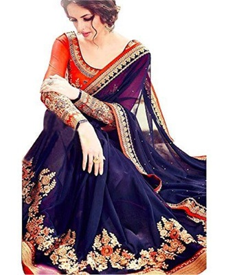 Navy Blue Self Design Embroidered Georgette Saree With Blouse