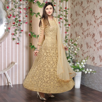 Beige Embroidered Semi_stitched Anarkali Suit for women