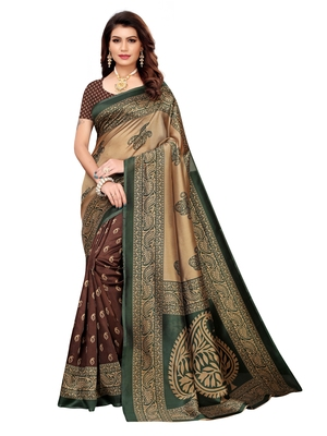 Brown Printed Poly Silk Saree With Blouse