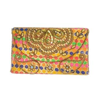 Womens Hand Embroidered Clutch With Sling Ribbon Multicolor