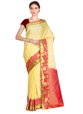 CLASSICATE from the house of The Chennai Silks Women's Cream Kanjivaram Silk Saree With Running Blouse