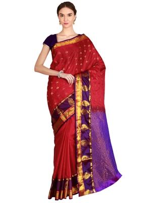 CLASSICATE from the house of The Chennai Silks Women's Dark Pink Kanjivaram Silk Saree With Running Blouse