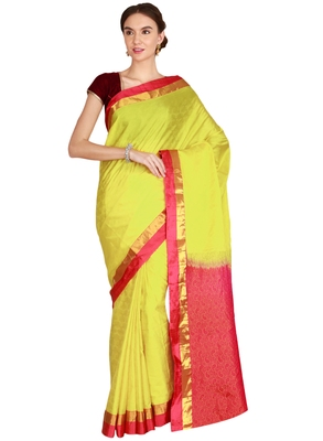 CLASSICATE from the house of The Chennai Silks Women's Light Yellow Kanjivaram Silk Saree With Running Blouse
