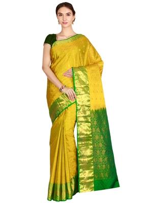 CLASSICATE from the house of The Chennai Silks Women's Olive Green Kanjivaram Silk Saree With Running Blouse