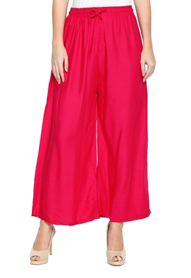 Women's Crepe Pink Solid Palazzos