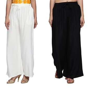 Combo of 2 Women's Crepe White & Black Solid Palazzos