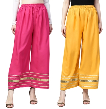 2 Women's Crepe Pink & Mustard Yellow Solid With Gota Patti Palazzos