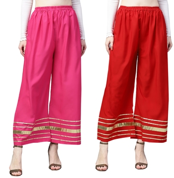 2 Women's Crepe Pink & Red Solid With Gota Patti Palazzos