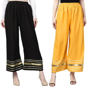 2 Women's Crepe Black & Mustard Yellow Solid With Gota Patti Palazzos