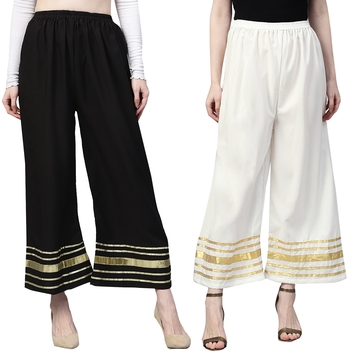 2 Women's Crepe Black & White Solid With Gota Patti Palazzos