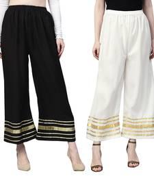 2 Women's Crepe Black & White Solid With Gota Patti Palazzos