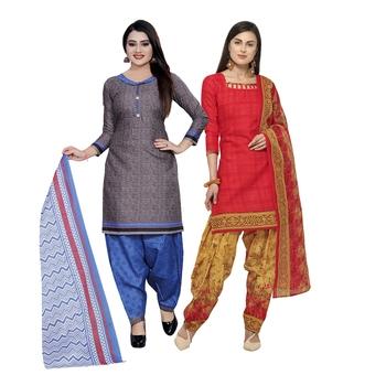 Grey printed blended cotton salwar