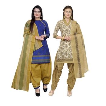 Blue printed blended cotton salwar