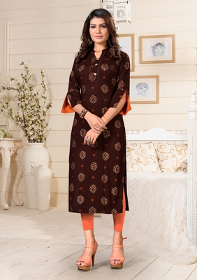 Brown printed rayon party-wear-kurtis