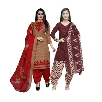 Brown Printed Blended Cotton Salwar