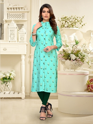 Sky-blue printed rayon party-wear-kurtis