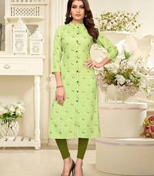 Light-parrot-green printed rayon party-wear-kurtis