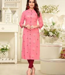 Light-pink printed rayon party-wear-kurtis